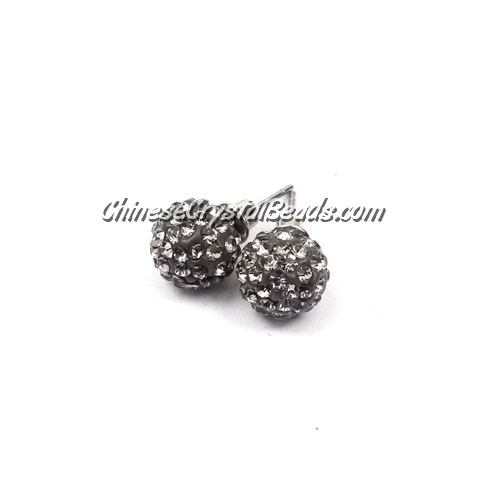 Pave Earrings, 10mm, clay pave beads, gray, sold 1 pair