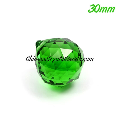 Chinesse crystal faceted ball , 30mm, green