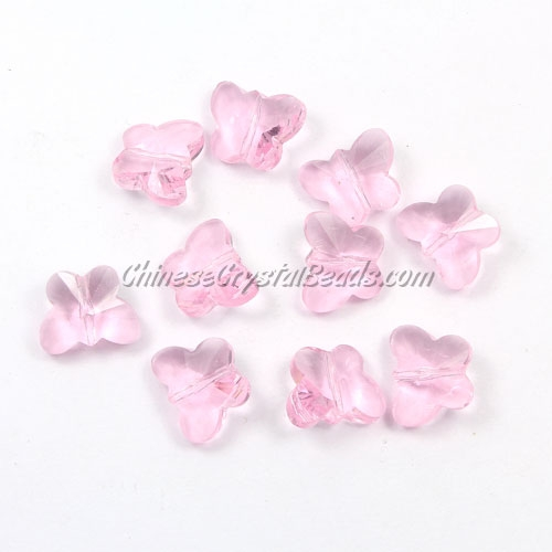 Crystal Butterfly Beads, pink, 12x14mm, 10 beads