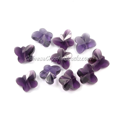 Crystal Butterfly Beads, Violet, 12x14mm, 10 beads