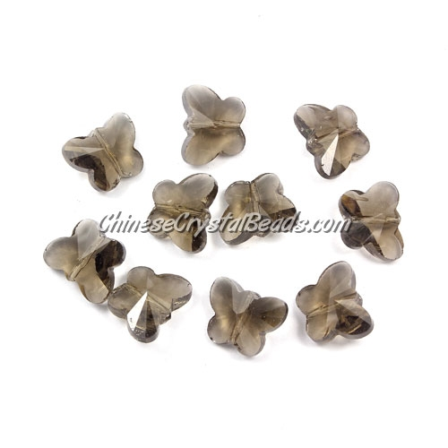 Crystal Butterfly Beads, smoke, 12x14mm, 10 beads