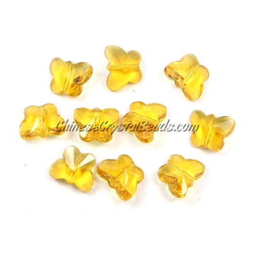 Crystal Butterfly Beads, golden, 12x14mm, 10 beads