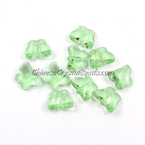Crystal Butterfly Beads, lime green, 12x14mm, 10 beads