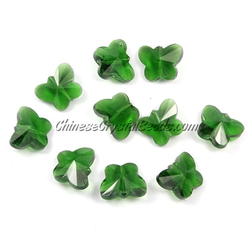 Crystal Butterfly Beads, green, 12x14mm, 10 beads