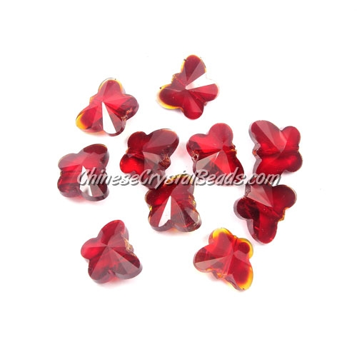 Crystal Butterfly Beads, siam, 12x14mm, 10 beads