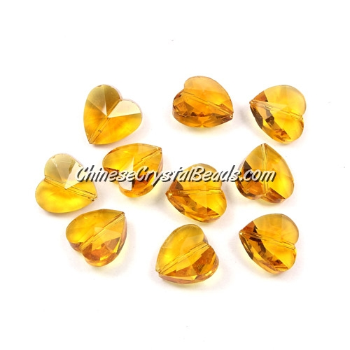 Crystal heart Beads, sun, 14mm, 10 beads
