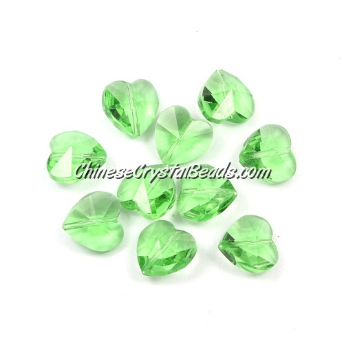 Crystal heart Beads, Lime green, 14mm, 10 beads