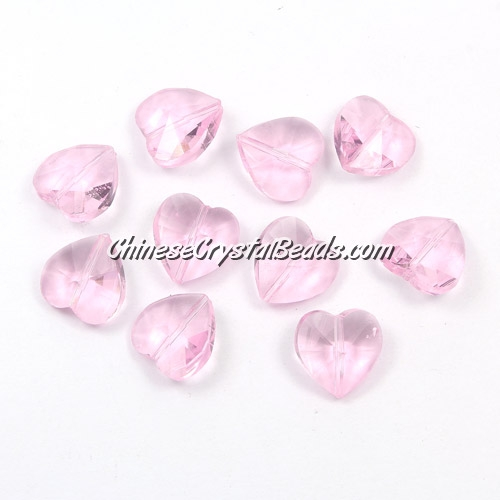 Crystal heart Beads, Pink, 14mm, 10 beads