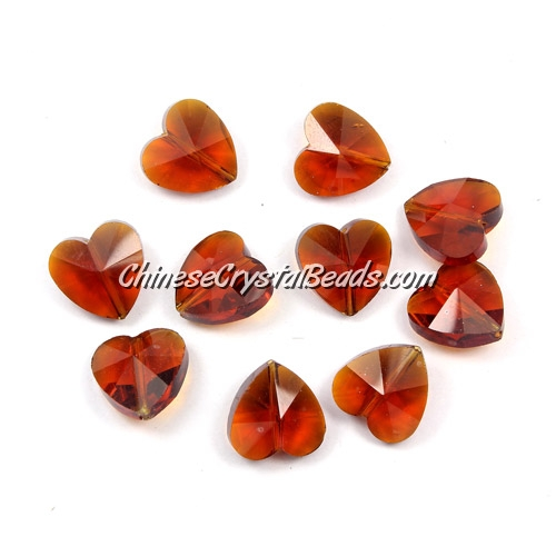 Crystal heart Beads, coffee, 14mm, 10 beads