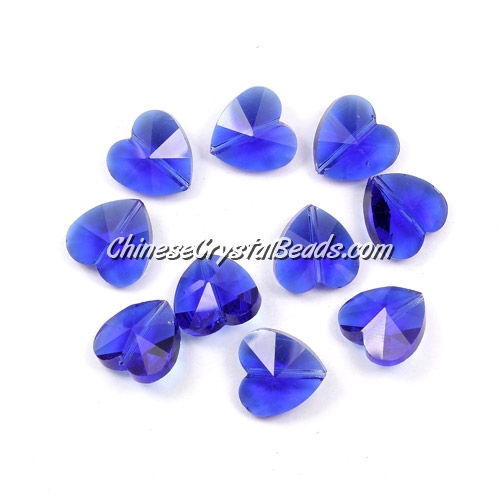 Crystal heart Beads, med. sapphire, 14mm, 10 beads