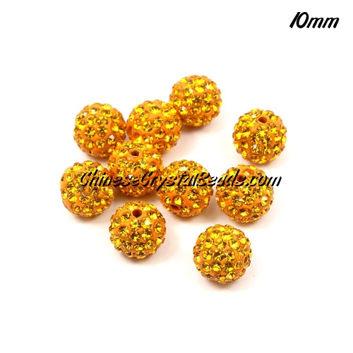 50pcs, 10mm Pave (clay) disco beads, hip hop disco beads, Sun, hole: 1.5mm