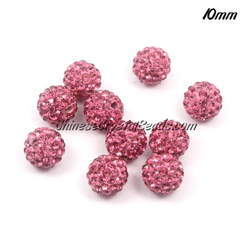 50pcs 10mm Pave clay disco beads, pink, hole: 1.5mm