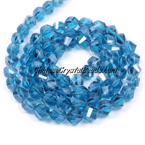 Chinese Crystal 8mm Helix Bead Strand, capri blue, 25 beads