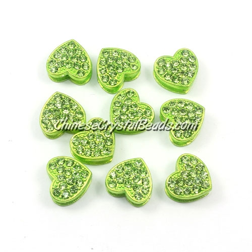 Pave heart beads, alloy, green, hole 1.5mm, 6x11x12mm, sold 10pcs