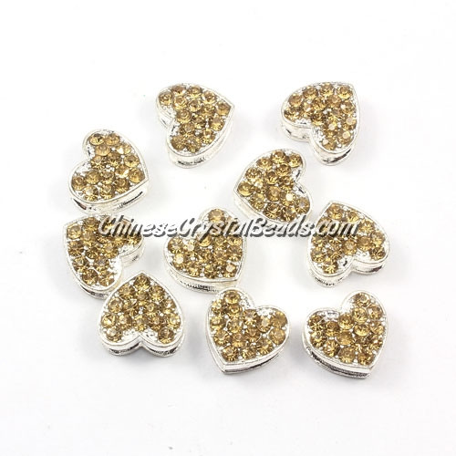 Pave heart beads, alloy, silver, champagen, hole 1.5mm, 6x11x12mm, sold 10pcs