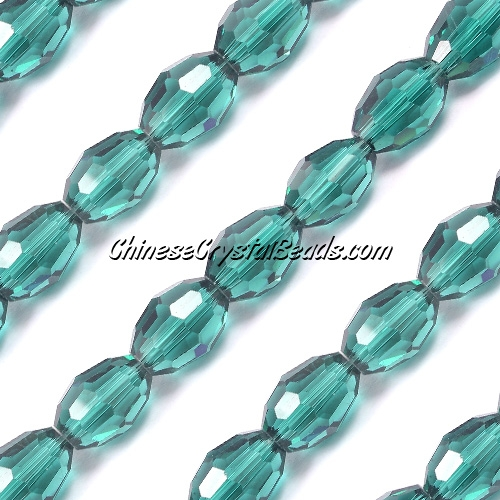 Chinese Crystal Faceted Barrel Strand, Emerald,10x13mm, 20 beads