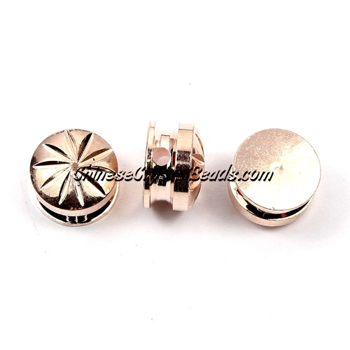 DIY Pave Tool , 10mm copper plate rose gold button, hole about 2mm, sold 10pcs