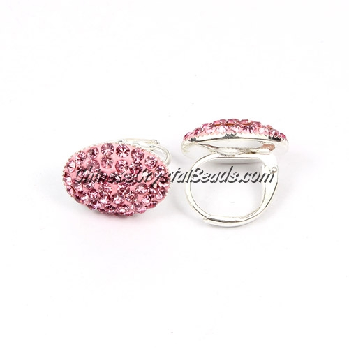 rondelle earrings crystal pave clay, 11x15mm, pink, sold 1 pair