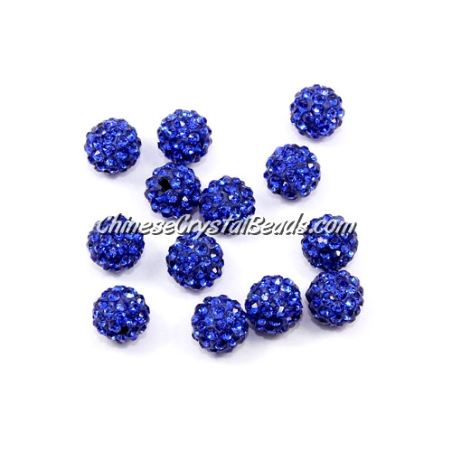50pcs, 8mm Pave beads, hole: 1mm, navy blue