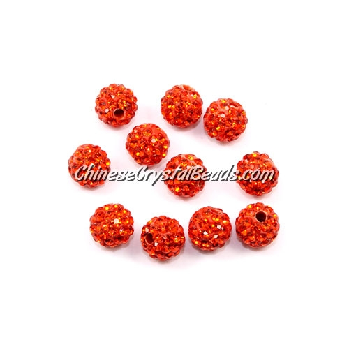 50pcs, 8mm Pave clay disco beads, hole: 1mm, orange