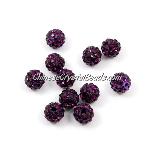 50pcs, 8mm Pave beads, hole: 1mm, violet