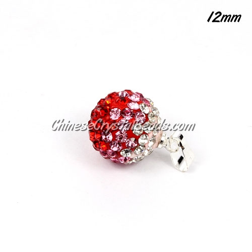 pave disco pendant, 12mm, recessive colour, red and white, sold 1 pcs
