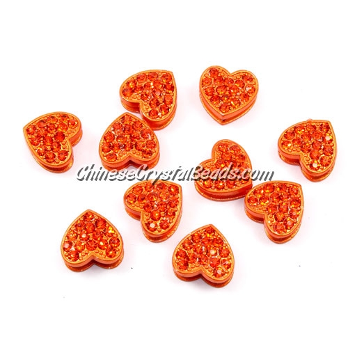 Pave heart beads, alloy, orange, hole 1.5mm, 6x11x12mm, sold 10pcs