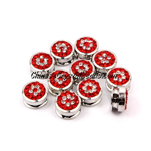 Pave button beads, red flower, silver-plated copper, 10mm , Sold per pkg of 10 pcs