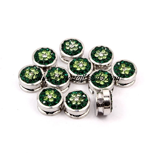 Pave button beads, green flower, silver-plated copper, 10mm , Sold per pkg of 10 pcs