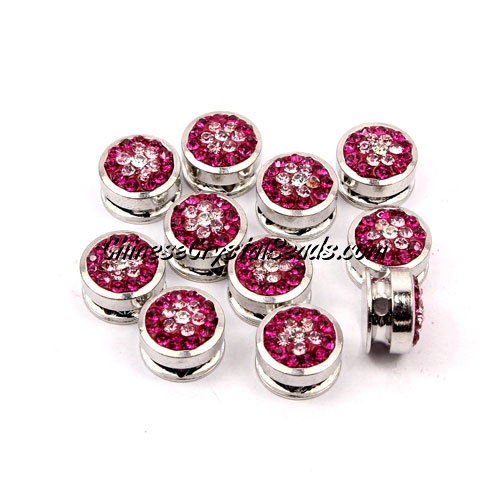 Pave button beads, fuchsia flower, silver-plated copper, 10mm , Sold per pkg of 10 pcs