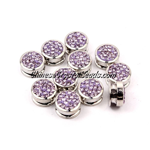 Pave button beads, light violet, silver-plated copper, 10mm , Sold per pkg of 10 pcs