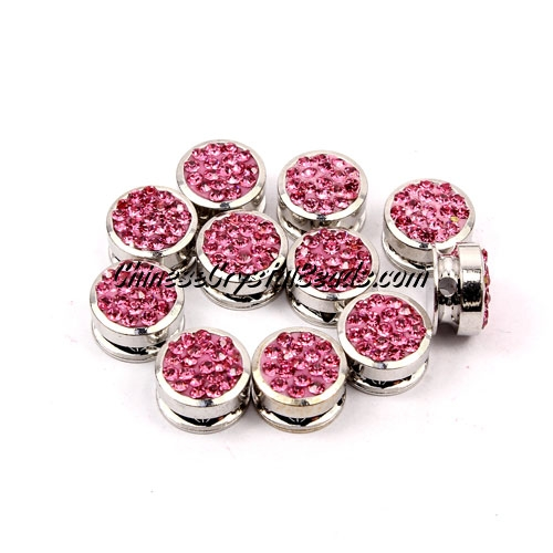 Pave button beads, pink, silver-plated copper, 10mm , Sold per pkg of 10 pcs
