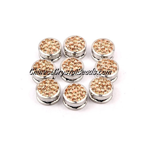 Pave button beads, peach, silver-plated copper, 10mm , Sold per pkg of 10 pcs