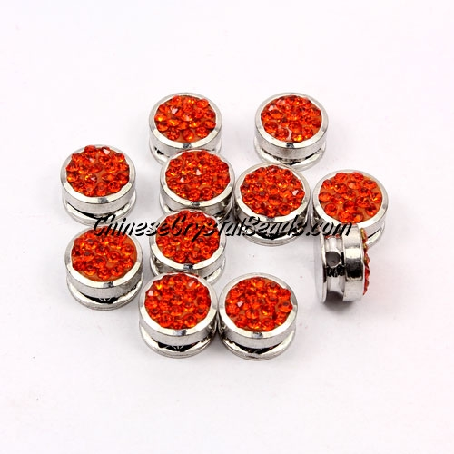 Pave button beads, orange, silver-plated copper, 10mm , Sold per pkg of 10 pcs
