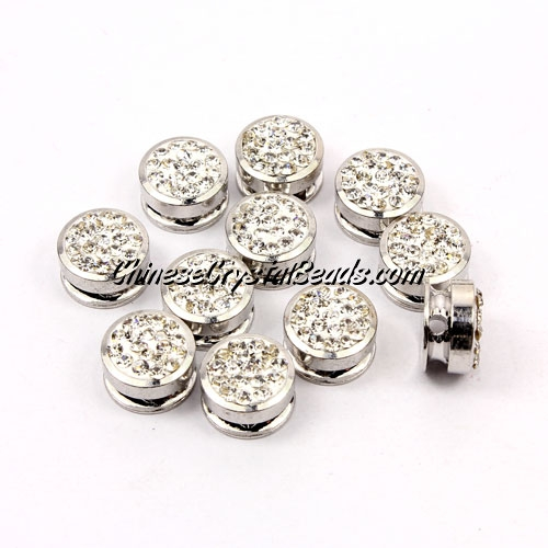Pave button beads, white, silver-plated copper, 10mm , Sold per pkg of 10 pcs