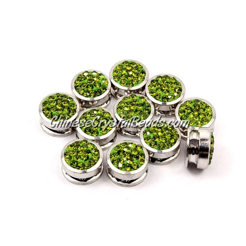 Pave button beads, olivine, silver-plated copper, 10mm , Sold per pkg of 10 pcs