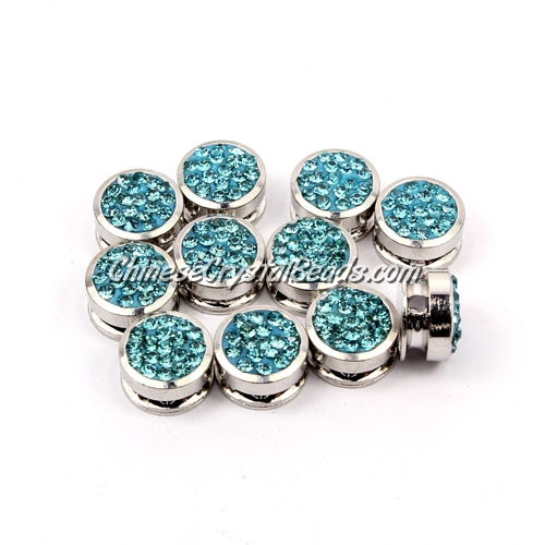 Pave button beads, aqua, silver-plated copper, 10mm , Sold per pkg of 10 pcs