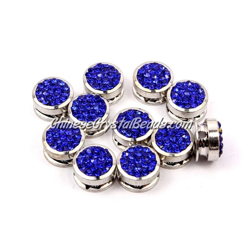 Pave button beads, sapphire, silver-plated copper, 10mm , Sold per pkg of 10 pcs