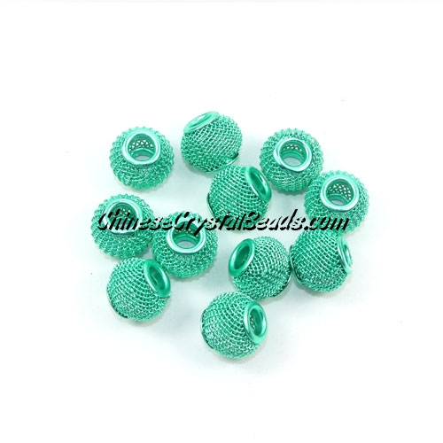 lime green Mesh Bead, Basketball Wives, 12mm, 10 pieces