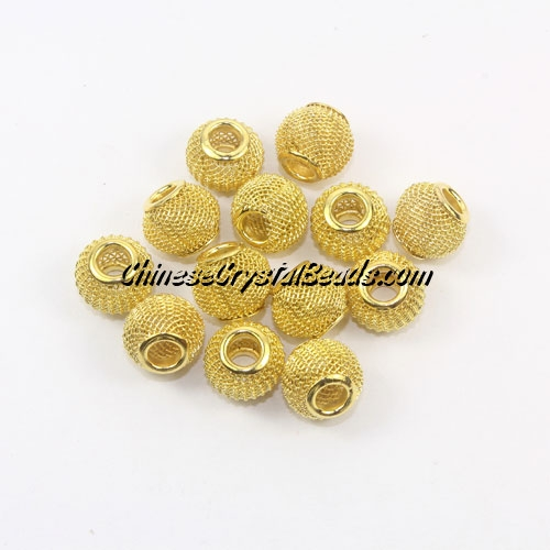 gold Mesh Bead, Basketball Wives, 12mm, 10 pieces