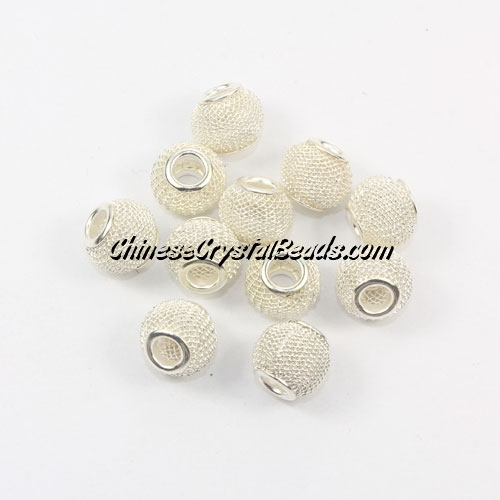 silver Mesh Bead, Basketball Wives, 12mm, 10 pieces