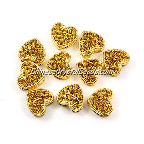 Pave heart beads, alloy, gold, champagne, hole 1.5mm, 6x11x12mm, sold 10pcs