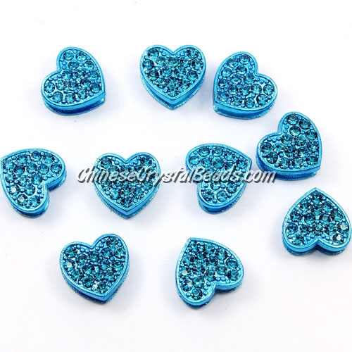 Pave heart beads, alloy, indicolite, hole 1.5mm, 6x11x12mm, sold per pkg of 10pcs
