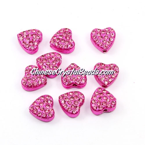 Pave heart beads, alloy, fuchsia, hole 1.5mm, 6x10x10mm, sold per pkg of 10pcs