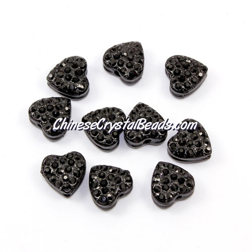 Pave heart beads, alloy, balck, hole 1.5mm, 6x10x10mm, sold per pkg of 10pcs