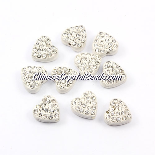 Pave heart beads, alloy, white, hole 1.5mm, 6x10x10mm, sold per pkg of 10pcs