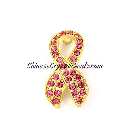 Pave accessories, Pink Ribbon symbol, 18x33mm, gold, Sold individually.
