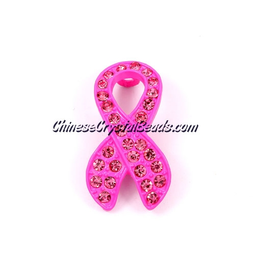 Pave accessories, Pink Ribbon symbol, 18x33mm, Fuchsia, Sold individually.
