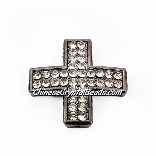 pave alloy cross, gun metal, 25x25mm, hole about 1.5mm, Sold individually.