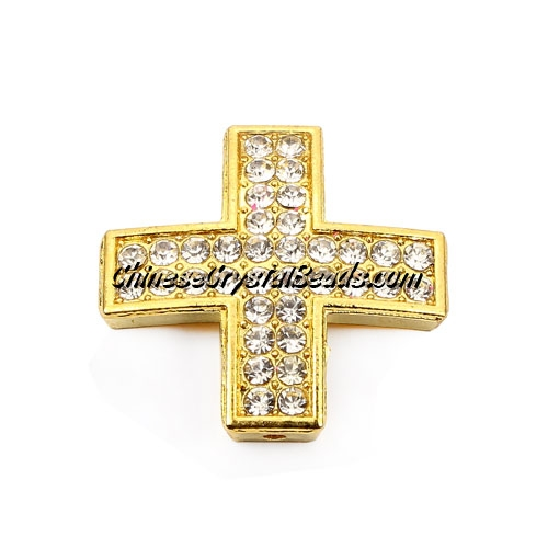 pave alloy cross, Gold, 25x25mm, hole about 1.5mm, Sold individually.